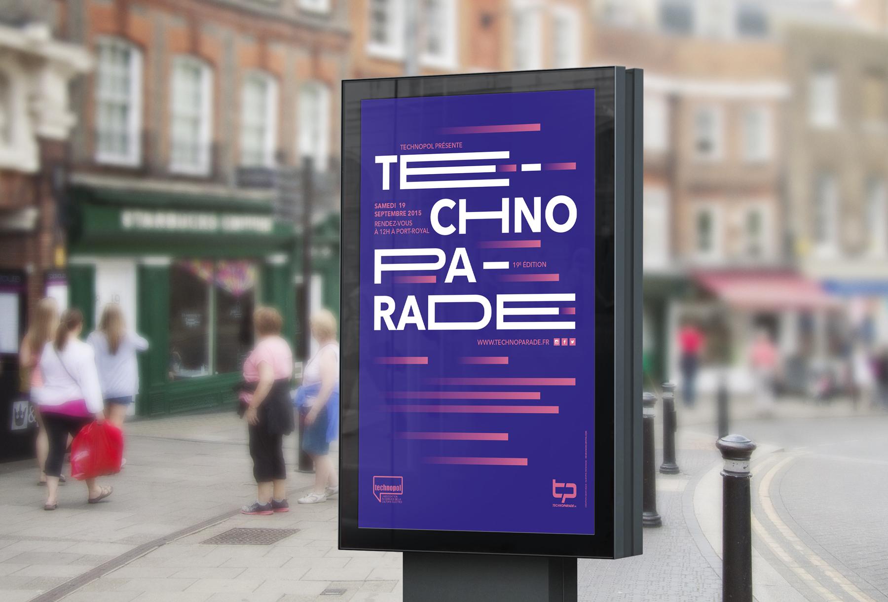 Techno Parade 2015 - Mockup affiche sucette rue