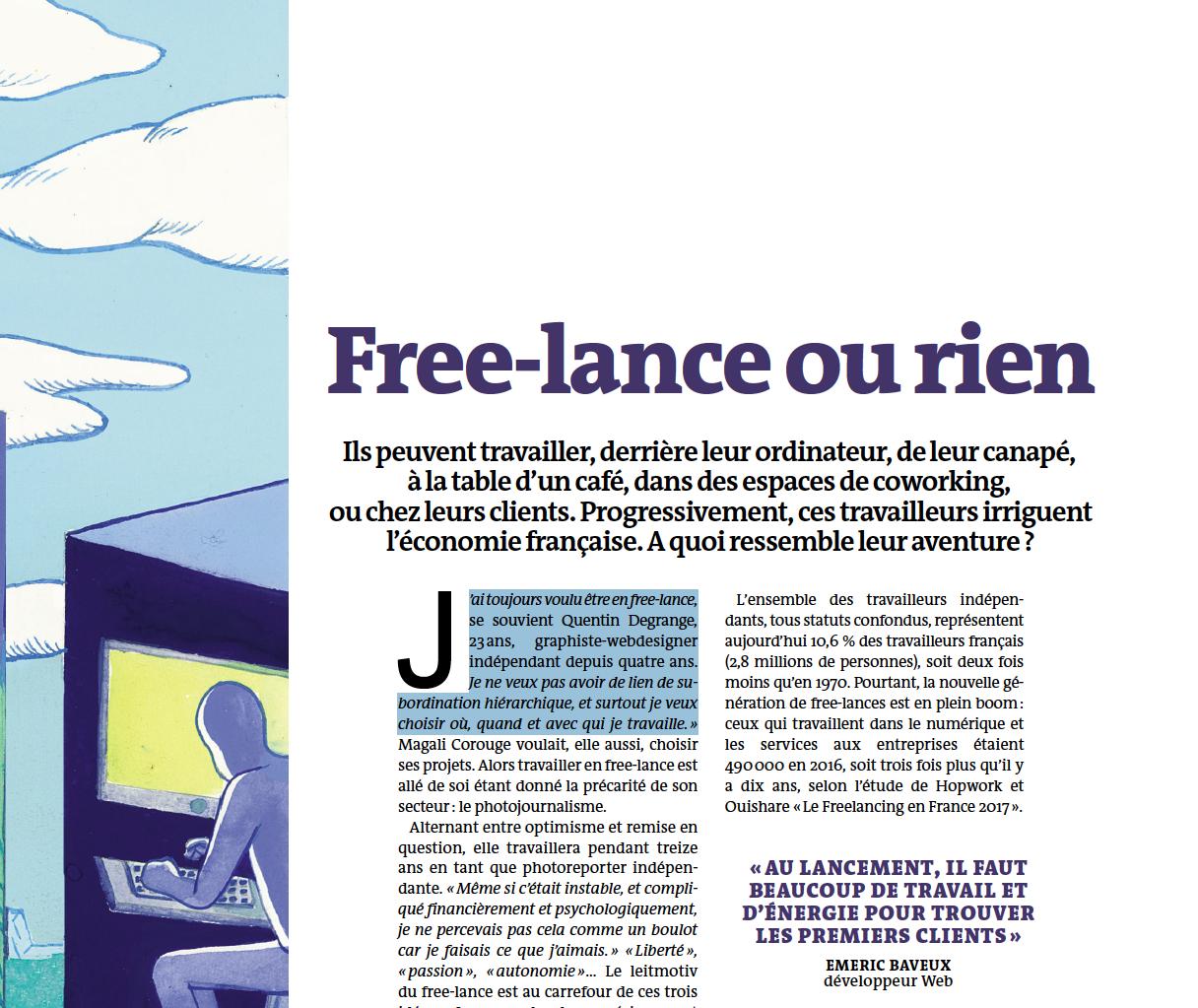 Free-lance ou rien / Article Le Monde Campus